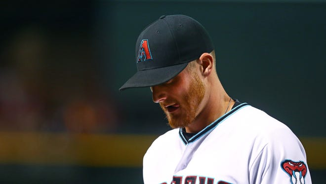 Jul 1, 2016: Arizona Diamondbacks pitcher Shelby Miller reacts against the San Francisco Giants at Chase Field.