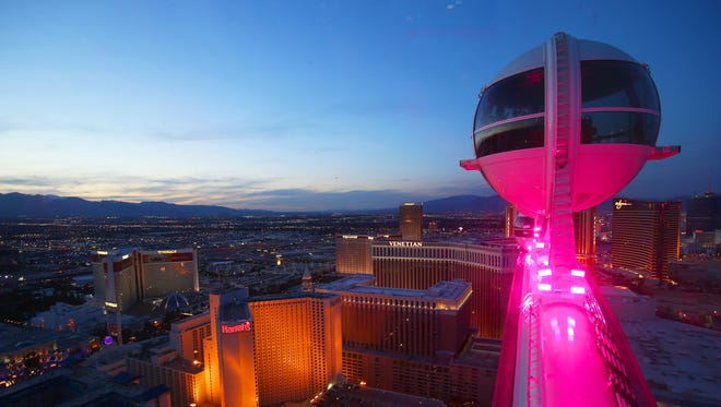 From 550 feet in the air, a sunset ride on the HIgh Roller looks over a fantastic view of the Las Vegas Strip.