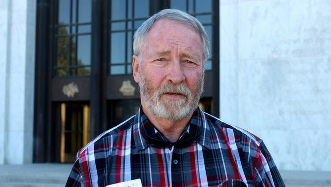 Malheur National Wildlife Refuge occupier Ken Medenbach, 63, of Crescent, sought the support of his state senator at the Capitol Building on Monday, August 29, 2016.