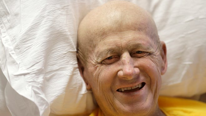 Sportscaster Craig Sager smiles during an interview Tuesday, Aug. 30, 2016, at MD Anderson Cancer Center in Houston. Sager underwent his third bone marrow transplant Wednesday, Aug. 31, 2016, as he continues to battle acute myeloid leukemia.