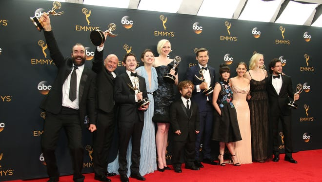 'Game of Thrones' cast members celebrate the HBO drama's second consecutive Emmy win for best drama Sunday.