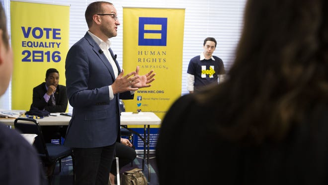 Human Rights Campaign President Chad Griffin talks to volunteers on Sept. 22, 2016. The group has taken a firm stance against Republican Donald Trump's campaign, saying it poses a threat to the progress made in recent years for the LGBT community.