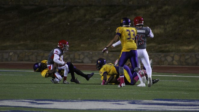 The Burges High School Mustangs took on the Jefferson High School Foxes at Bowie High School on Friday. Burges knocked off Jefferson, 41-28.