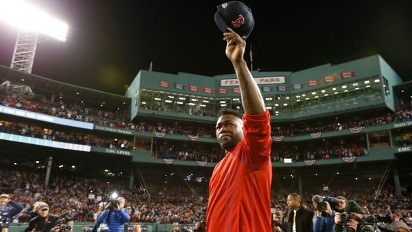 Boston Red Sox designated hitter David Ortiz (34) salutes