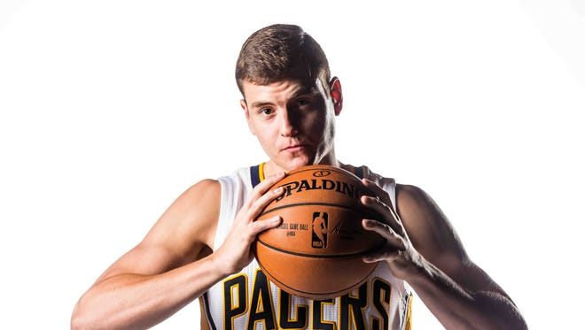 The Indiana Pacers' No. 15, Nick Zeisloft, poses for photos on media day at Bankers life Fieldhouse on Monday, Sept. 26, 2016.