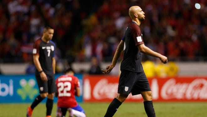 United States' Alan Gordon leaves the field after losing against Costa Rica 0-4 during a 2018 World Cup qualifying soccer match in San Jose, Costa Rica, on Nov. 15, 2016.