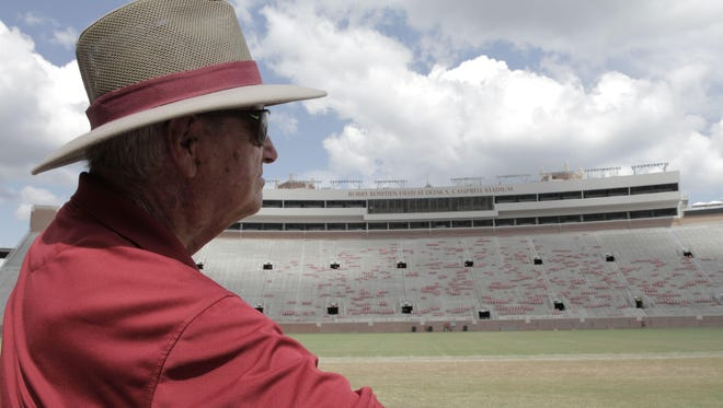 Bobby Bowden poses at Doak Campbell Stadium during the filming of his documentary.