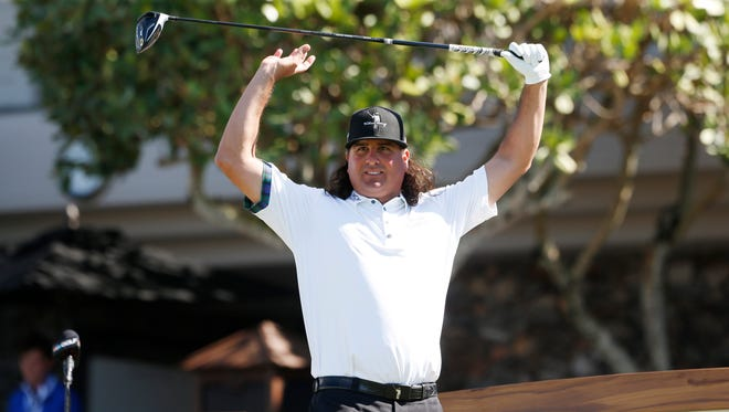 Pat Perez gets ready to tee off on the first hole during the second round of the Tournament of Champions golf tournament at Kapalua Resort - The Plantation Course on Jan. 6.