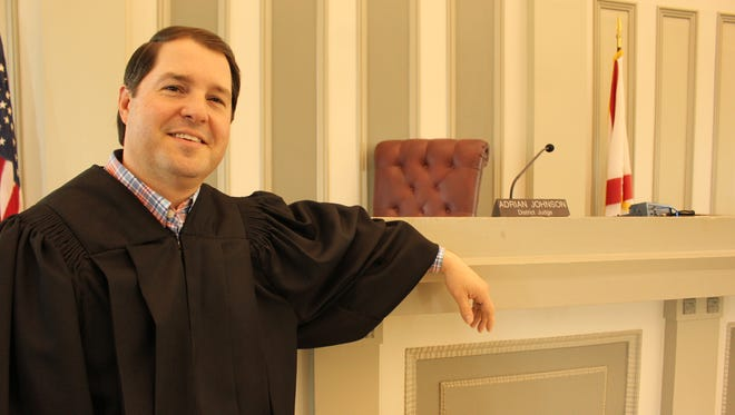 Lowndes County District Judge Adrian Johnson at a courtroom where history was made in 1965.