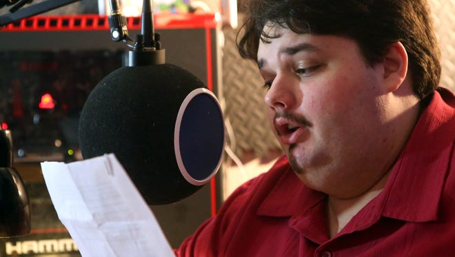 "Kyle Land records a voice-over Tuesday, Jan. 31, 2017, in Corpus Christi. Land won the ""Explorers Wanted"" voice-over contest, which got him several voice-over part in the video game ""Mass Effect: Andromeda."" The voice-overs were recorded in Los Angeles."