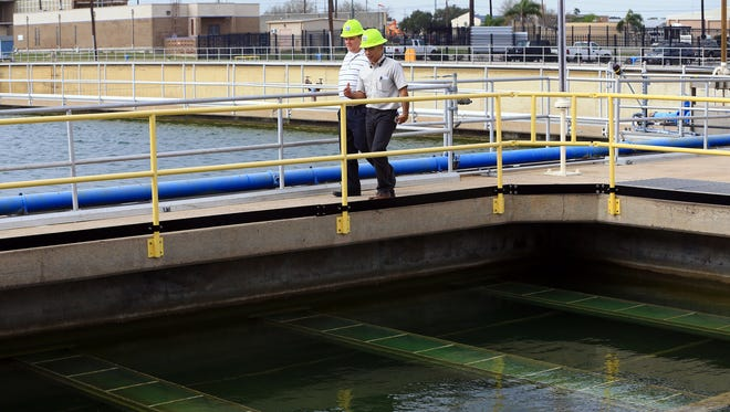 Corpus Christi Water Director Clarence Wittwer (left) gets a tour of the O.N. Stevens Water Treatment Plant from Water Plant Manager Rafael Martinez on Tuesday, Feb. 6, 2017, in Corpus Christi.