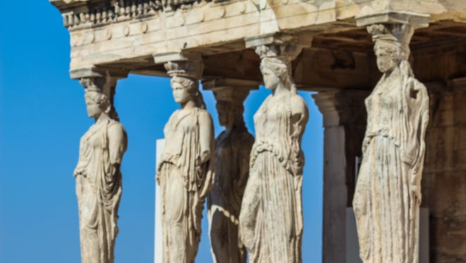 The opulent structure known as the Erechtheion is located on the north side of the Acropolis and was erected in 421-406 BC. The name derives from Erechtheus, the mythical king of Athens, who was worshipped there.