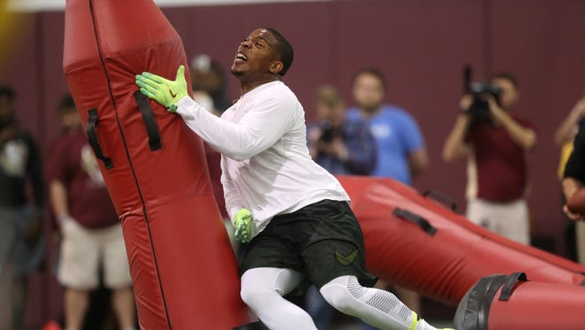 DeMarcus Walker performs for NFL personal during FSU's Pro Day at the Al Dunlap Facility on Tuesday, March 28, 2017.