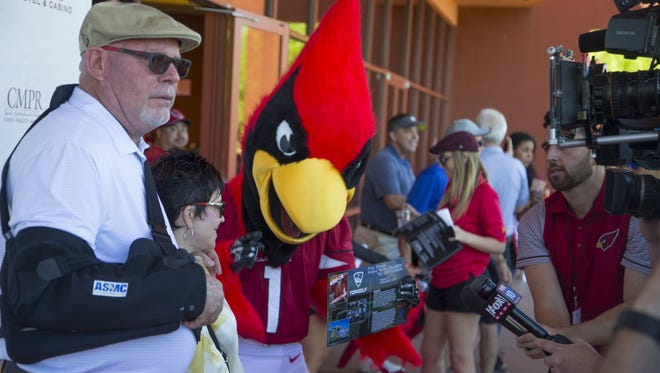 Cardinals head coach Bruce Arians talks to the press during Bruce Arians' celebrity golf tournament for the Arians Foundation at Whirlwind Golf Club on March 25, 2017 in Chandler, Ariz.
