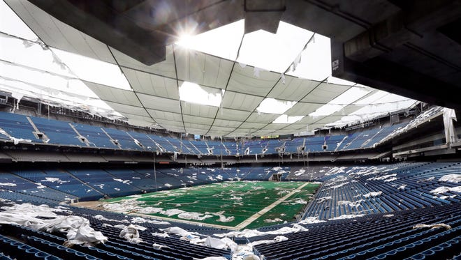In May 2014, the interior of the Pontiac Silverdome, former home of the NFL football Detroit Lions, is seen in Pontiac.