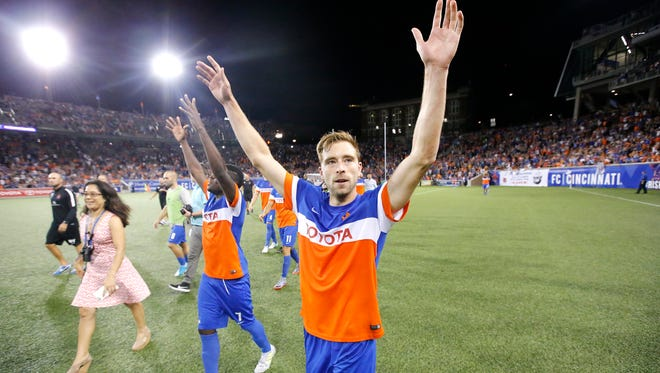 FC Cincinnati defender Matt Bahner (2) celebrates the win against Chicago Fire FC during the Lamar Hunt US Open Cup match between the Chicago Fire and FC Cincinnati on June 28, 2017 at Nippert Stadium.