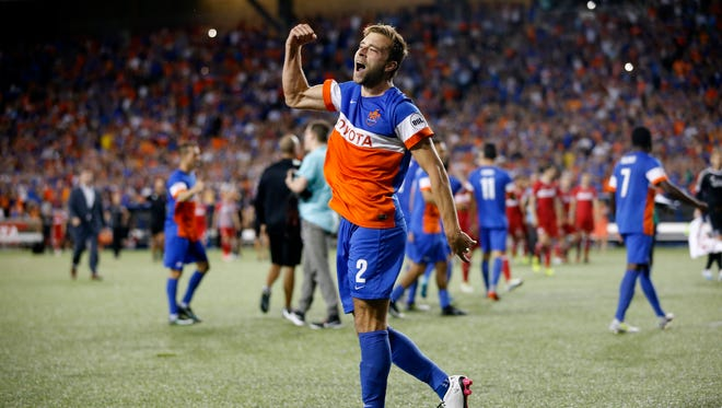 in the first half during the Lamar Hunt US Open Cup match between the Chicago Fire and FC Cincinnati on June 28, 2017 at Nippert Stadium.