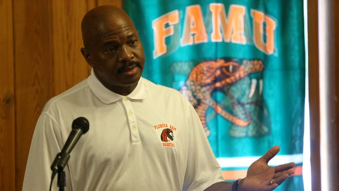 FAMU Head Basketball Coach Robert McCullum speaks to the 220 Quarterback Club during their meeting at the New Times Buffet on Wednesday, June 28, 2017.
