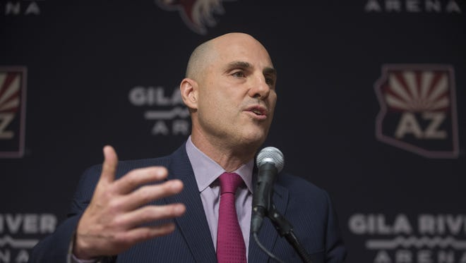 Coyotes new head coach Rick Tocchet speaks during a press conference at Gila River Arena in Glendale, Ariz. on July 13, 2017.