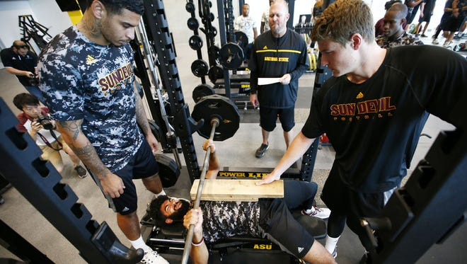 ASU quarterback Manny Wilkins works-out at the Student-Athlete Facility on Wednesday, July 19, 2017 at Sun Devil Stadium in Tempe, Ariz.