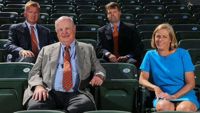 From left: Troy Blackburn, Mike Brown, Paul Brown and Katie Blackburn, pose for a portrait, Tuesday, July 25, 2017, at Paul Brown Stadium in Cincinnati. The Brown family is celebrating 50 years as owners of the Cincinnati Bengals franchise.