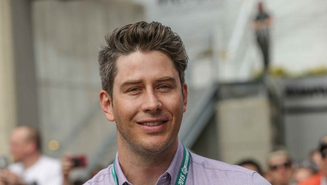 Arie Luyendyk Jr. visits  the red carpet at the 99th running of the Indianapolis 500, Sunday May 24th, 2015.