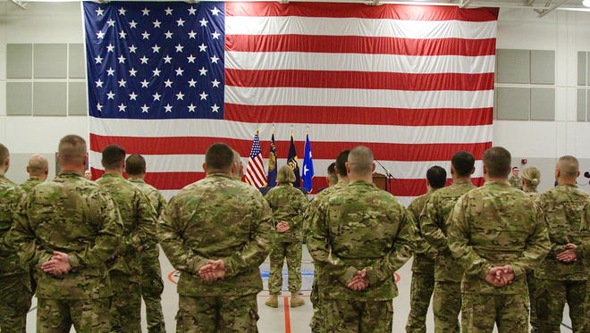 Twenty-three Citizen-Soldiers with Detachment 3, G Company (Golf), 1st Battalion, 189th Aviation Regiment are honored in a mobilization ceremony on Friday, Sept. 29, 2017. The battalion will  assist with aerial medical evacuation support in the Middle East.