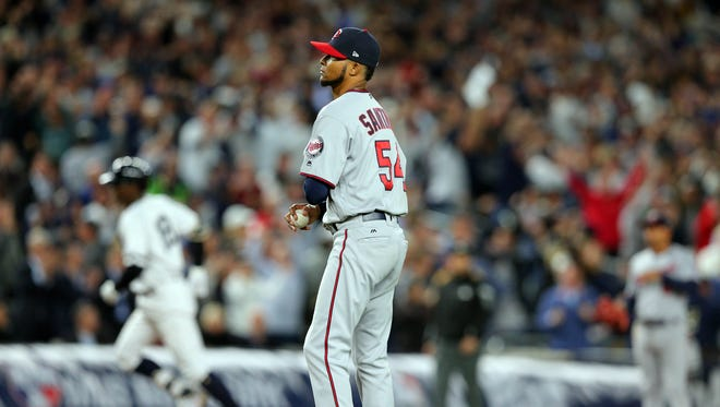 Ervin Santana pitched only two innings before he was removed from the AL wild card game.