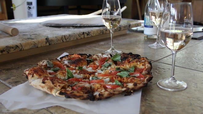 Bob Pfaff of Left Coast pairs his heirloom tomato pizza with estate white pinot.