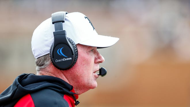 Oct 28, 2017; Winston-Salem, NC, USA; Louisville Cardinals head coach Bobby Petrino looks on during the fourth quarter against the Wake Forest Demon Deacons at BB&T Field.