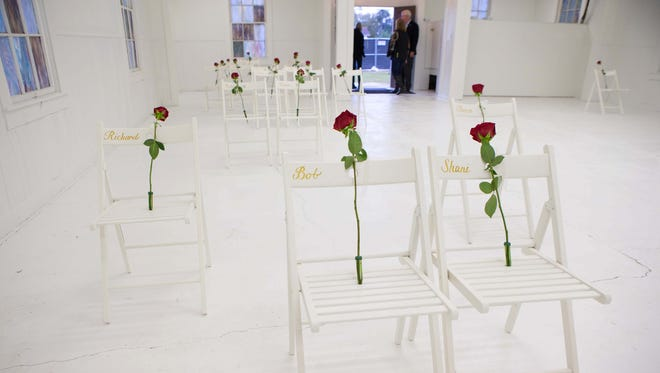 Chairs with roses mark where victims where found in the sanctuary of First Baptist Church in Sutherland Springs. A memorial was created in the sanctuary of the church and opened to the public on Nov. 5, 2017, one week after the attack.