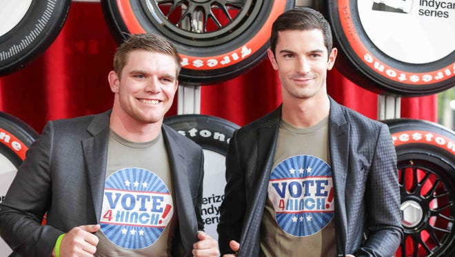 FILE -- IndyCar drivers Conor Daly, left, and Alexander Rossi .