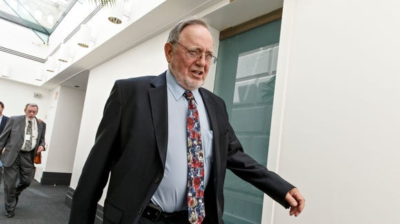 Rep. Don Young, R-Alaska, leaves a closed-door Republican
