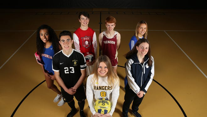 All-Greater Rochester athletes (front,  clockwise), Leah Wengender, soccer, Spencerport, Adriano Margiotta, soccer, McQuaid, Hayleigh Palotti, cross country, Livonia, Jett Klintworth, volleyball, Penfield, Nathan Lawler, cross country, Pittsford Mendon, Hannah Callaghan, soccer, Wheatland-Chili, Megan Deuel, swimming, Pittsford.