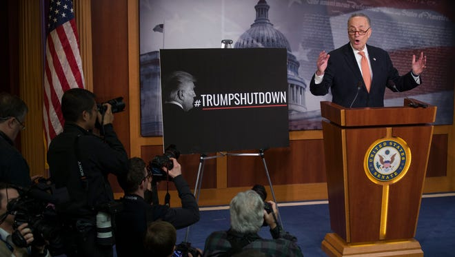 Senate Minority Leader Chuck Schumer responds to a question from the news media during a press conference as the Senate continues work on ending the government shutdown in the US Capitol in Washington, DC, USA, 20 January 2018. Negotiations continue in the Senate today to resolve the government shutdown.