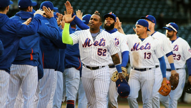 The New York Mets  react after defeating the Philadelphia Phillies 4-3 at Citi Field.