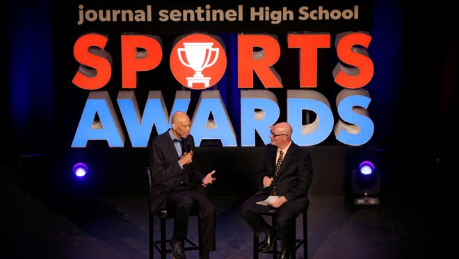 Kareem Abdul-Jabbar speaks during question and answer session with Gary D'Amatio at the Journal Sentinel Sports Awards on Monday night at the Pabst Theater. Photo by Mike De Sisti.