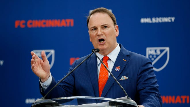 Team president Jeff Berding addresses the crowd at Rhinegeist Brewery in the Over-the-Rhine neighborhood of Cincinnati on Tuesday, May 29, 2018. FC Cincinnati was announced as the newest expansion team to join Major League Soccer.
