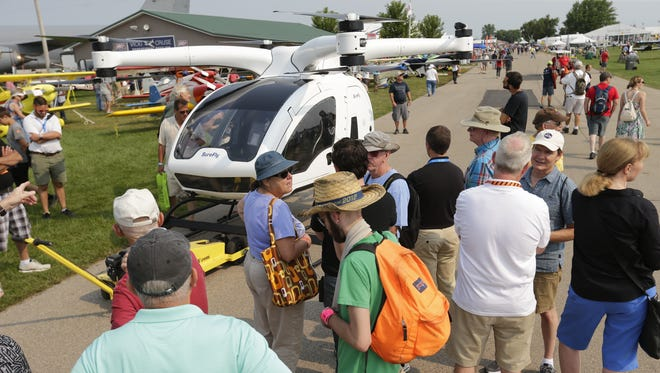 The SureFly manned drone vehicle drew attention with spectators at AirVenture.  The first day of AirVenture 2018 opened on July 21, 2018.  Thousands of people will pass through the gates of AirVenture.Joe Sienkiewicz/USA Today NETWORK-Wisconsin
