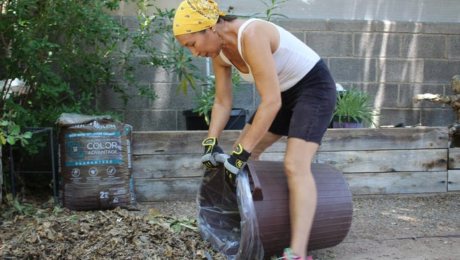 Las Cruces resident Leesa Mandlman knows that clear bags will allow the Green Grappler to swiftly remove yard waste from her curb once a month.