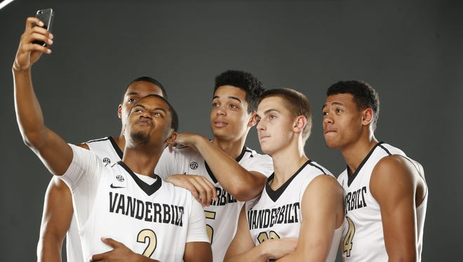 Vanderbilt freshmen (left to right) Jeff Roberson, Shelton Mitchell, Matthew Fisher-Davis, Riley LaChance and Wade Baldwin pose for a selfie in a promotional team photo on Sept. 16, 2014.