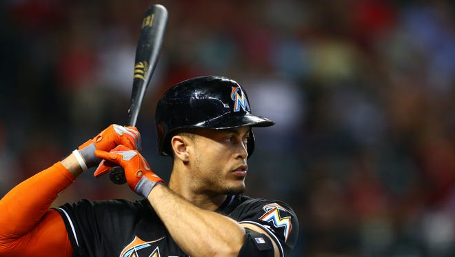 Miami Marlins outfielder Giancarlo Stanton in the first inning against the Arizona Diamondbacks at Chase Field.