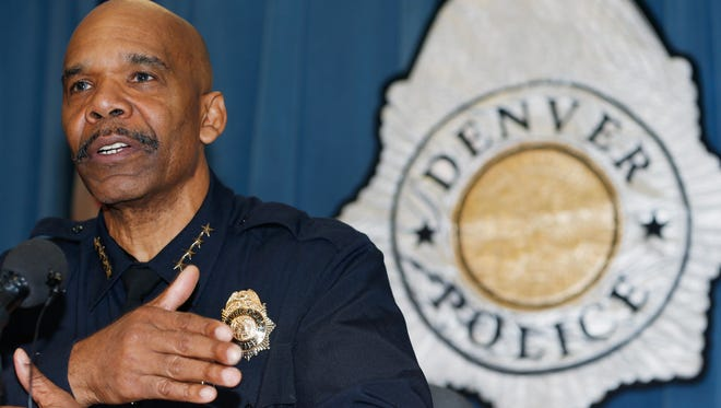 Denver Police Department Chief Robert White responds to questions during a news conference in Denver, Thursday, Jan. 29, 2015, about the death of a 17-year-old woman who was killed after she allegedly hit and injured a Denver Police Department officer while driving a stolen vehicle early Monday in a northeast Denver alley.