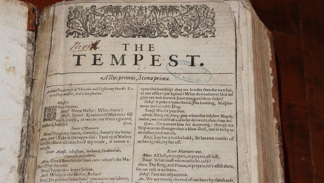 A Shakespeare first folio, identified in France by Eric Rasmussen, University of Nevada, Reno Shakespeare expert.
