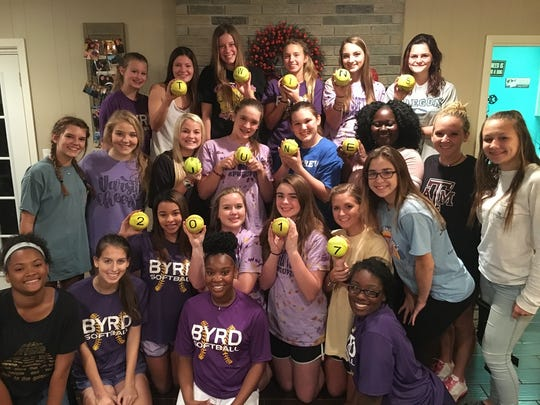 The Byrd softball team participated in the gender reveal