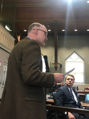 Tim Marchell, of Ithaca, voices his support to the Tompkins County Legislature for the legislation to raise the age of purchasing tobacco products.