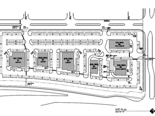 The first phase of Restaurant Row Naples plans at least eight restaurants on Collier Boulevard just north of U.S. 41 East. Collier Boulevard runs along the bottom edge of this graphic, Triangle Boulevard is on the right and Celeste Drive along the top. Site plan courtesy of Barron Commercial Development