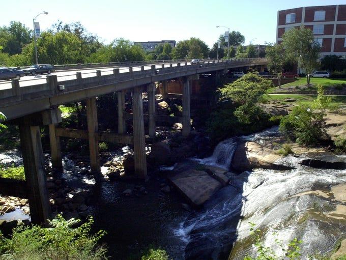 Reedy River park and Camperdown  bridge. Wednesday,