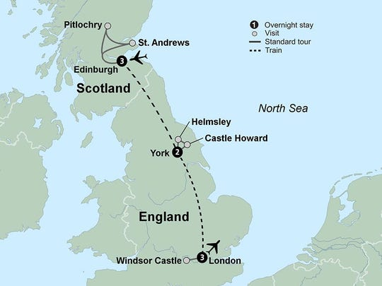 Journey by train to three of the UK's most iconic destinations: Edinburgh, York and London.