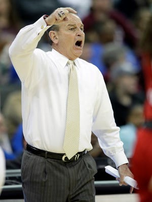 Mississippi State head coach Vic Schaefer directs his team during the second half of a women's NCAA college basketball tournament regional semifinal game against North Carolina State, Friday, March 23, 2018, in Kansas City, Mo. (AP Photo/Orlin Wagner)